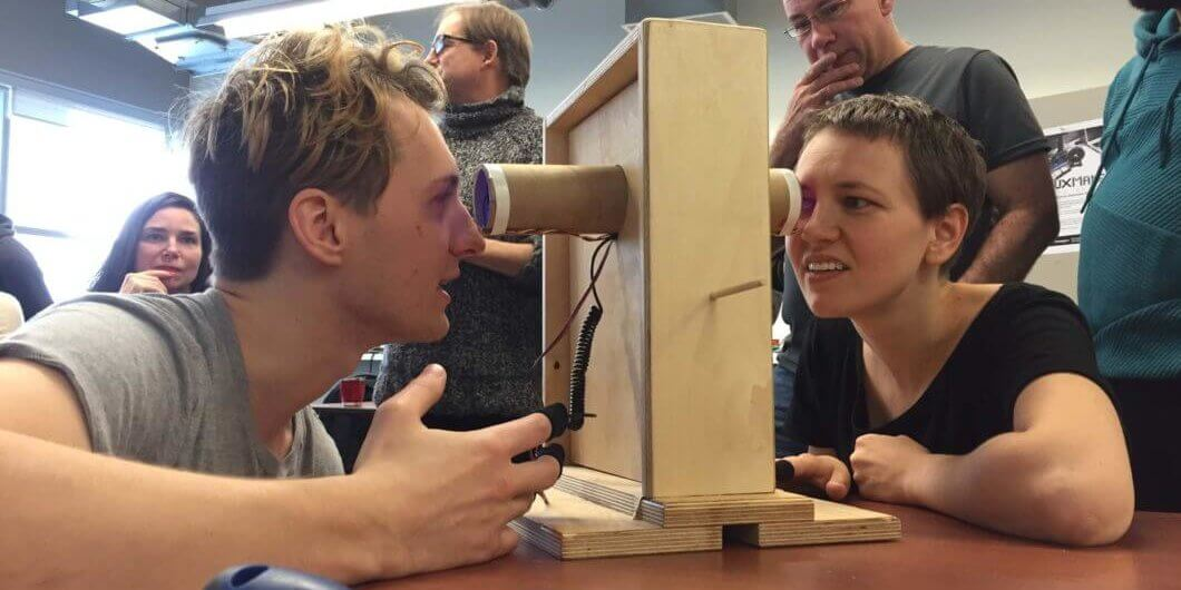 Critical making - Two people testing a prototype